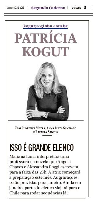 """Mariana Lima no jornal """"O Globo"""""""