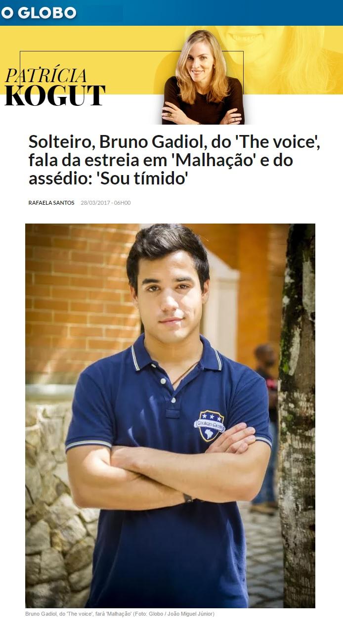 Bruno Gadiol na coluna Patrícia Kogut do O Globo.