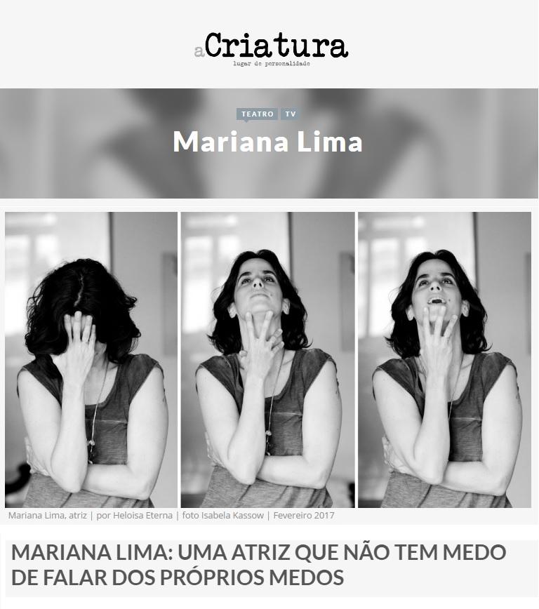 (Português) Mariana Lima no site A Criatura.