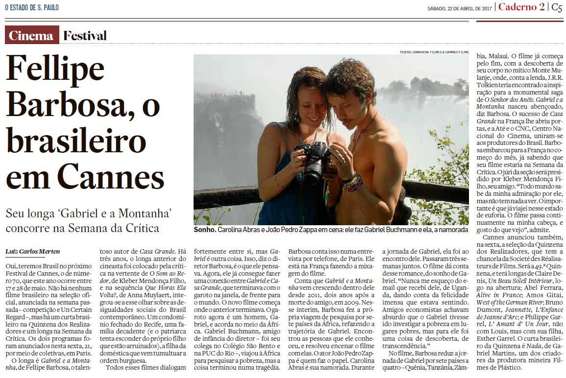 João Pedro Zappa no jornal Estado de São Paulo.