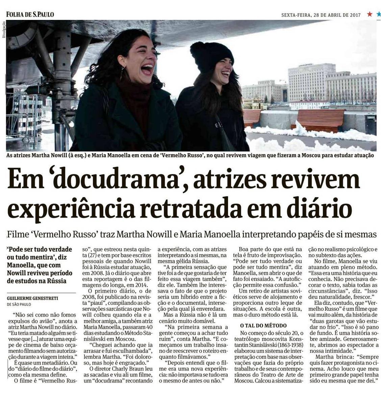 Maria Manoella no jornal Folha de São Paulo.
