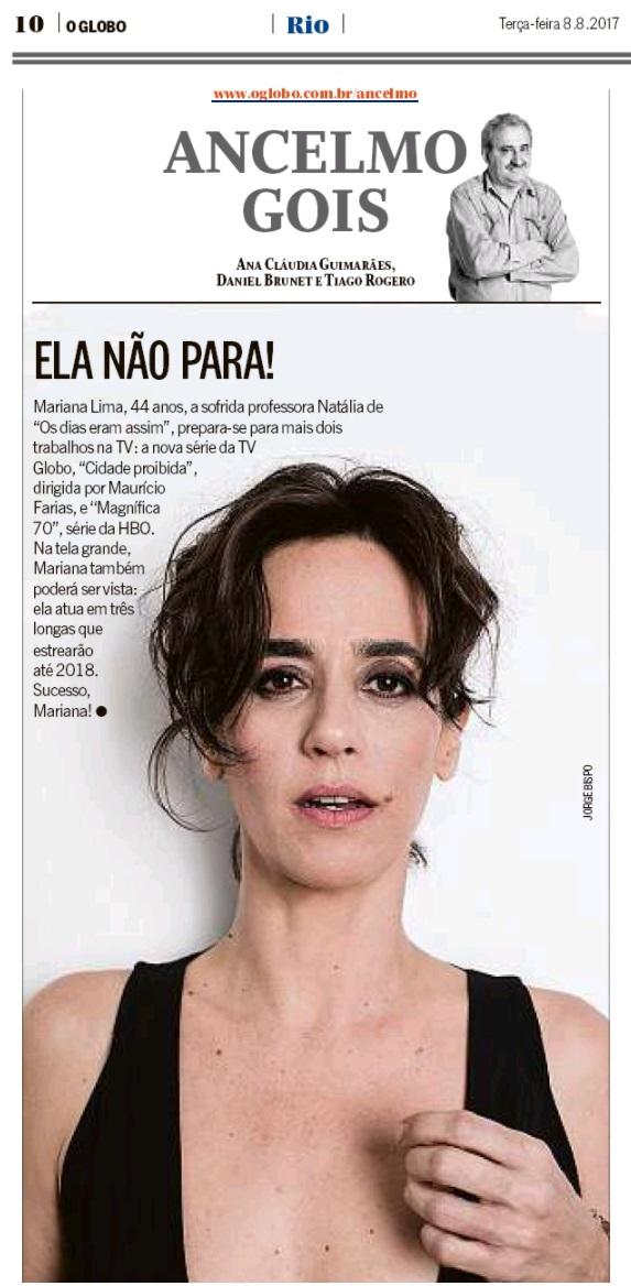Mariana Lima no jornal O Globo.