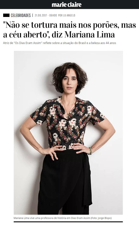 Mariana Lima na revista Marie Claire.