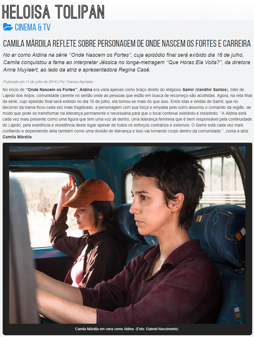 (Português) Camila Márdila no site Heloisa Tolipan.