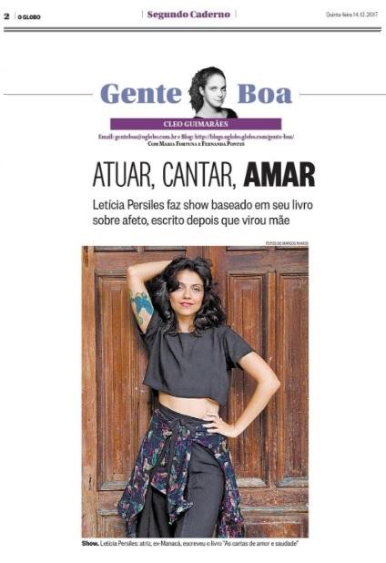 Letícia Persiles no jornal O Globo.
