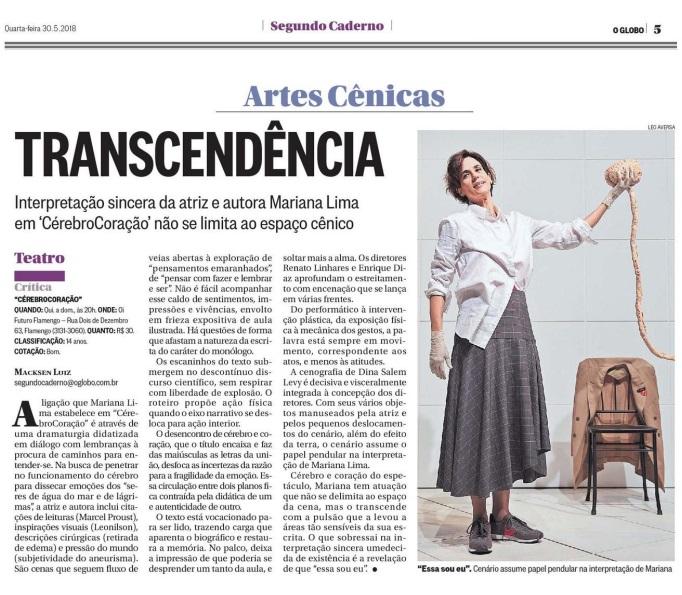 (Português) Mariana Lima no jornal O Globo.